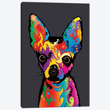 Rainbow Chihuahua On Grey Canvas Print #MTO494} by Michael Tompsett Canvas Art Print