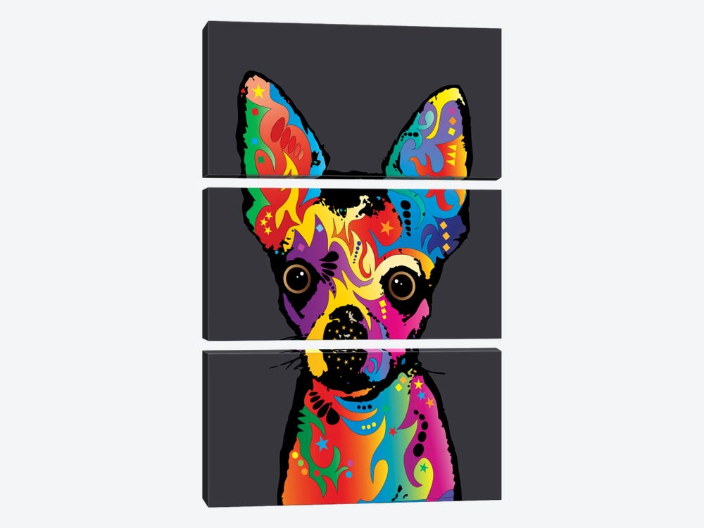 Rainbow Chihuahua On Grey by Michael Tompsett 3-piece Canvas Art Print