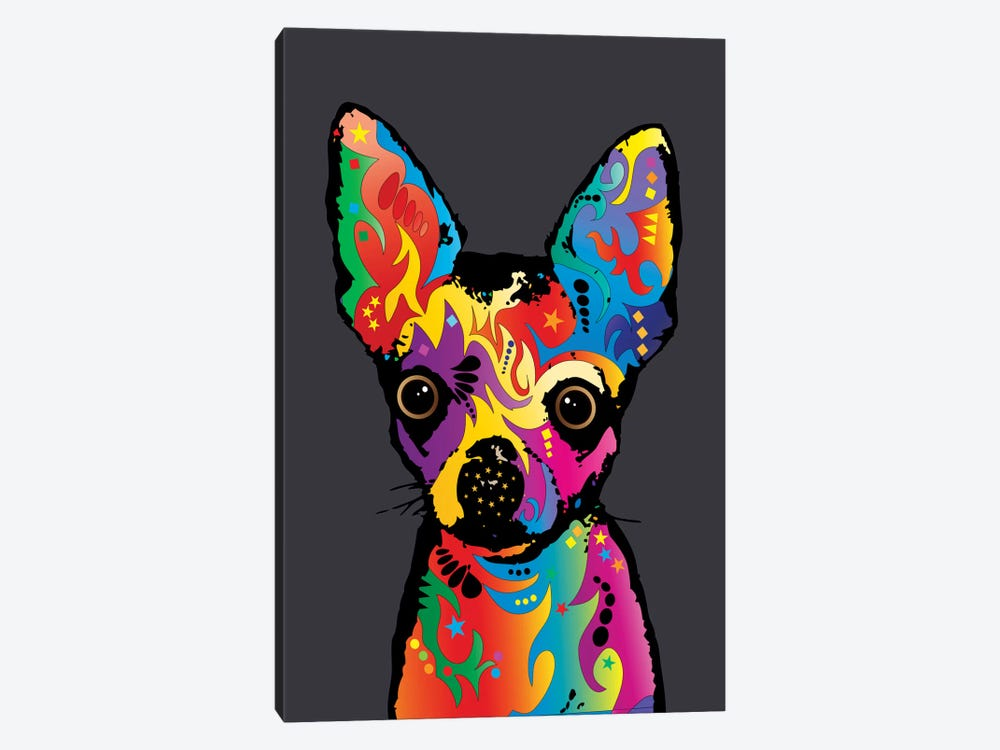 Rainbow Chihuahua On Grey by Michael Tompsett 1-piece Canvas Print
