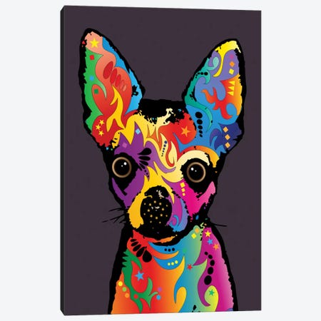 Rainbow Chihuahua On Plum Grey Canvas Print #MTO495} by Michael Tompsett Canvas Print
