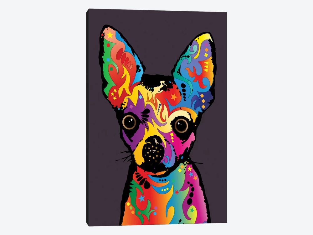 Rainbow Chihuahua On Plum Grey by Michael Tompsett 1-piece Canvas Wall Art