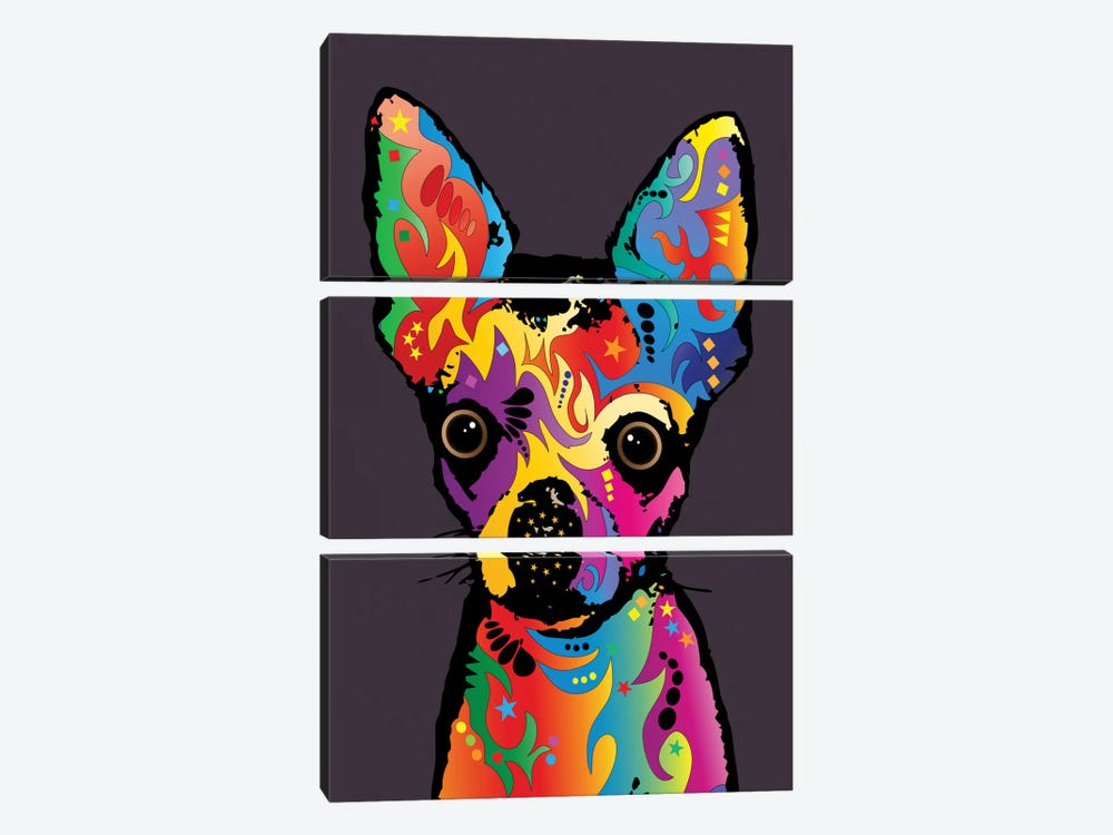 Rainbow Chihuahua On Plum Grey by Michael Tompsett 3-piece Canvas Art