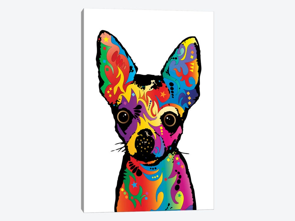 Rainbow Chihuahua On White by Michael Tompsett 1-piece Art Print