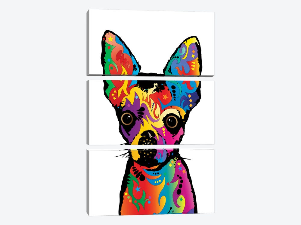 Rainbow Chihuahua On White by Michael Tompsett 3-piece Canvas Art Print