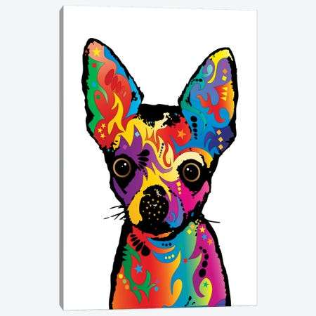 Rainbow Chihuahua On White Canvas Print #MTO496} by Michael Tompsett Canvas Print