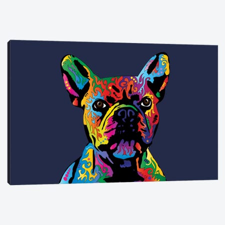 Rainbow French Bulldog On Blue Canvas Print #MTO497} by Michael Tompsett Canvas Art Print