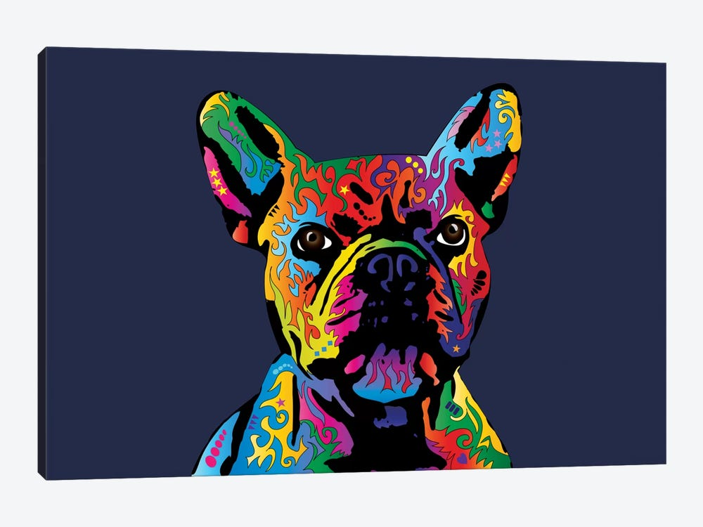 Rainbow French Bulldog On Blue by Michael Tompsett 1-piece Canvas Wall Art