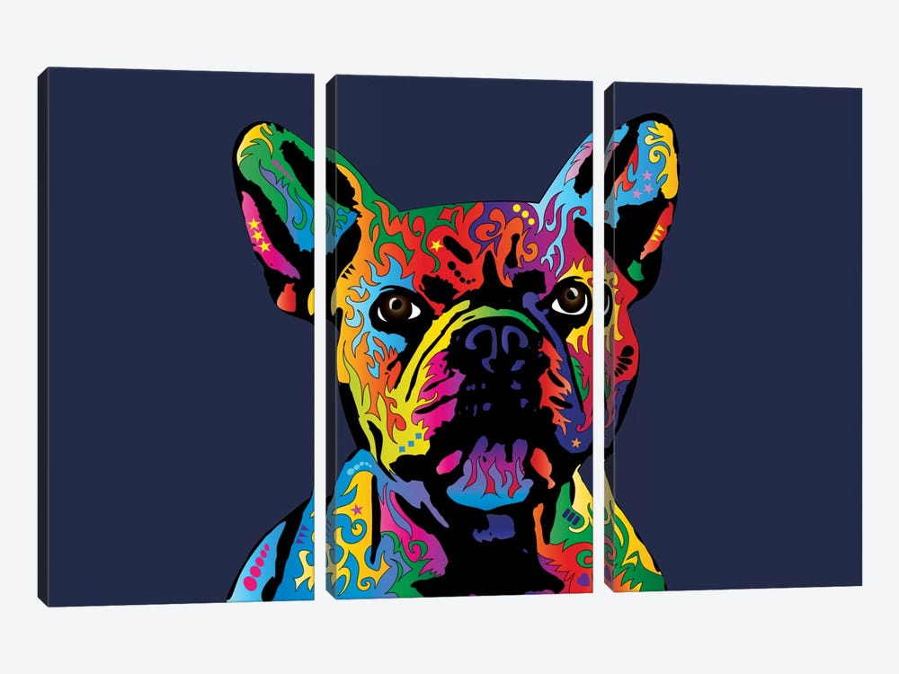 Rainbow French Bulldog On Blue by Michael Tompsett 3-piece Canvas Artwork