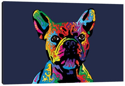 Rainbow French Bulldog On Blue Canvas Art Print