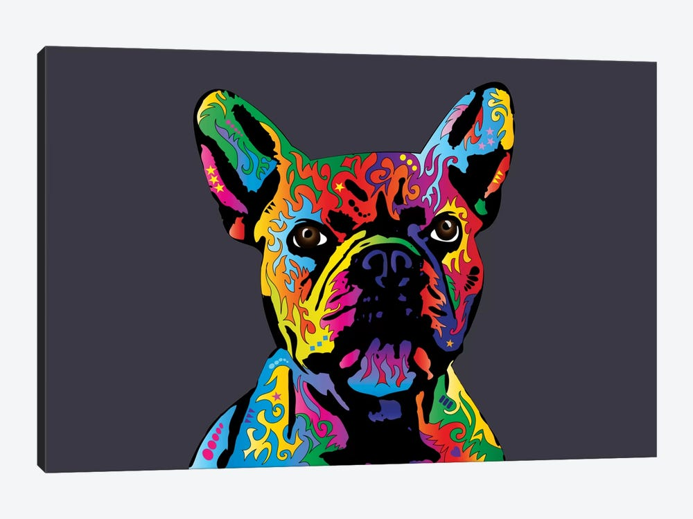 Rainbow French Bulldog On Grey by Michael Tompsett 1-piece Canvas Art Print