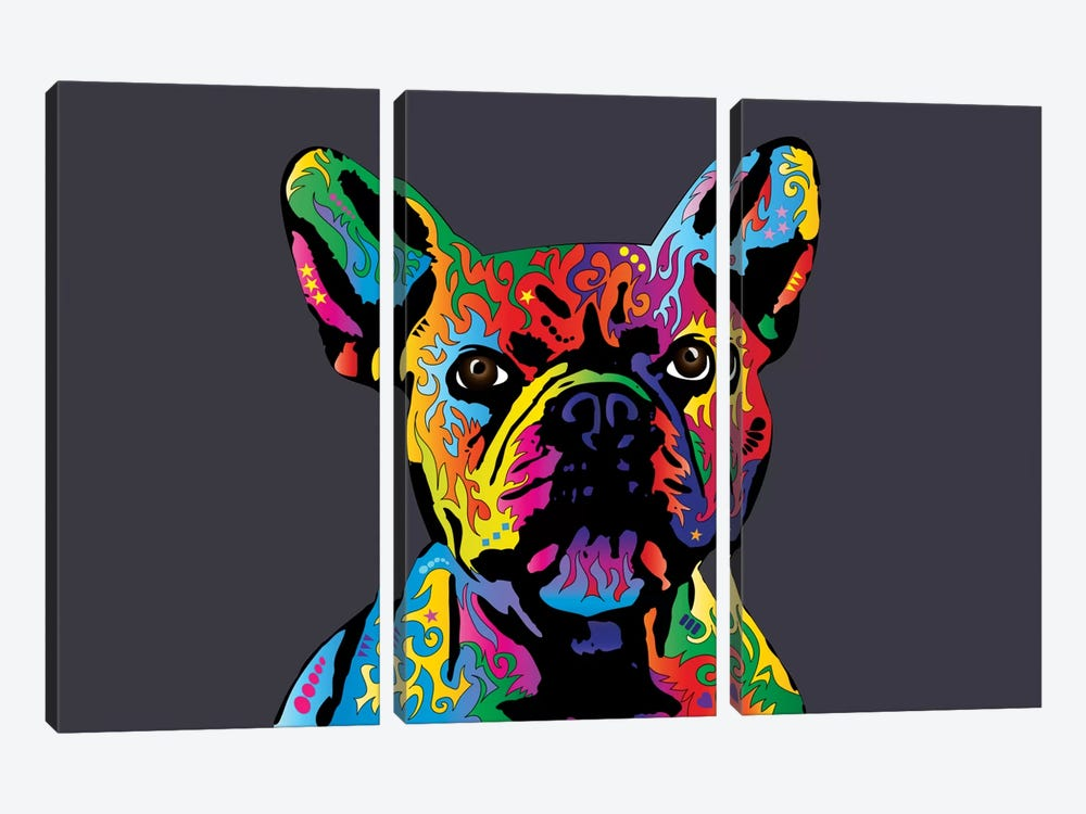 Rainbow French Bulldog On Grey by Michael Tompsett 3-piece Canvas Print