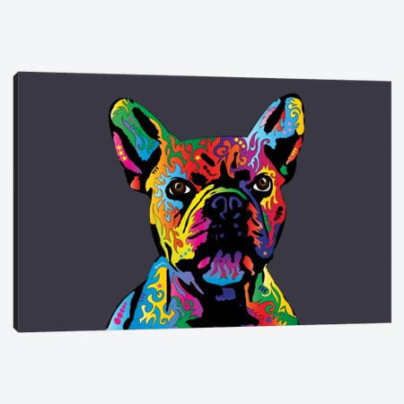 Rainbow French Bulldog On Grey Canvas Print #MTO498} by Michael Tompsett Canvas Art