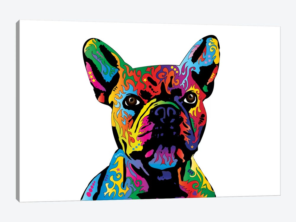 Rainbow French Bulldog On White by Michael Tompsett 1-piece Canvas Artwork