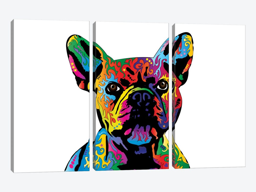 Rainbow French Bulldog On White by Michael Tompsett 3-piece Canvas Artwork