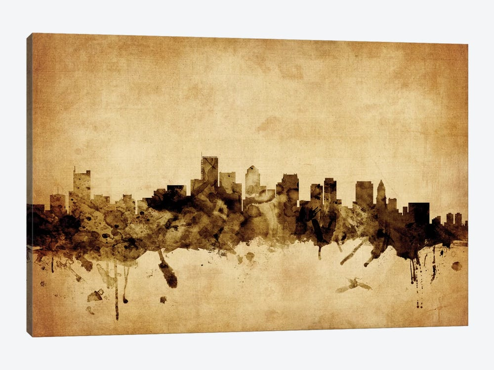 Foxed (Retro) Skyline Series: Boston, Massachusetts, USA by Michael Tompsett 1-piece Canvas Wall Art
