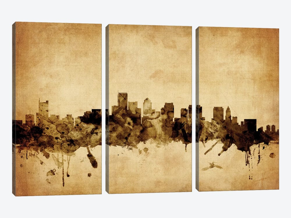 Foxed (Retro) Skyline Series: Boston, Massachusetts, USA by Michael Tompsett 3-piece Canvas Wall Art