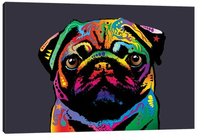 Rainbow Pug On Grey Canvas Art Print