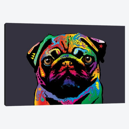 Rainbow Pug On Grey Canvas Print #MTO501} by Michael Tompsett Canvas Art