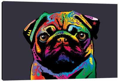 Rainbow Pug On Grey Canvas Art Print