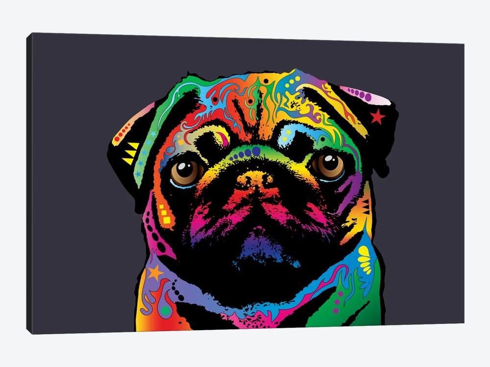 Rainbow Pug On Grey by Michael Tompsett 1-piece Canvas Wall Art