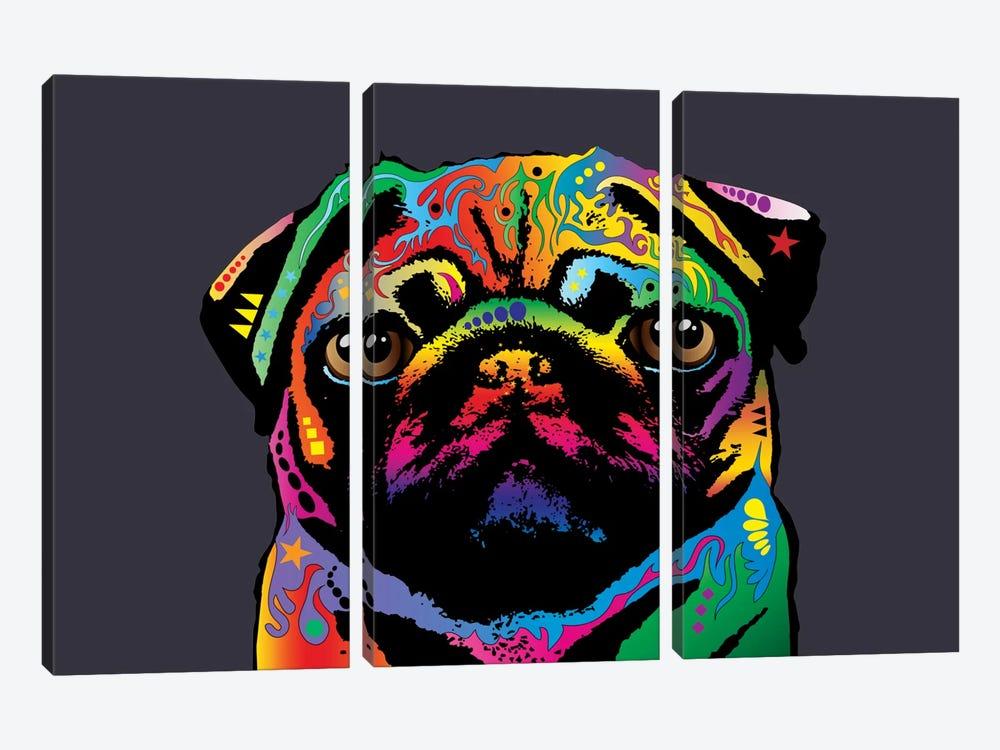 Rainbow Pug On Grey by Michael Tompsett 3-piece Canvas Artwork