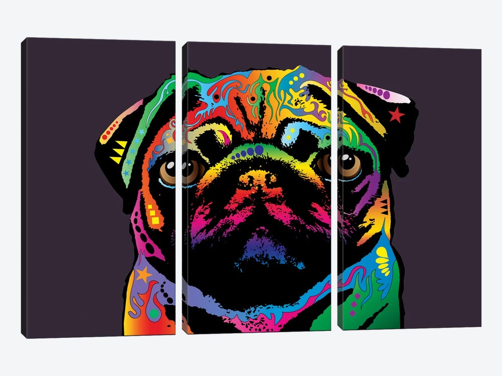 Rainbow Pug On Plum Grey by Michael Tompsett 3-piece Canvas Print