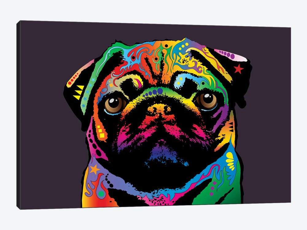 Rainbow Pug On Plum Grey by Michael Tompsett 1-piece Canvas Print