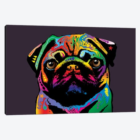 Rainbow Pug On Plum Grey Canvas Print #MTO502} by Michael Tompsett Canvas Artwork