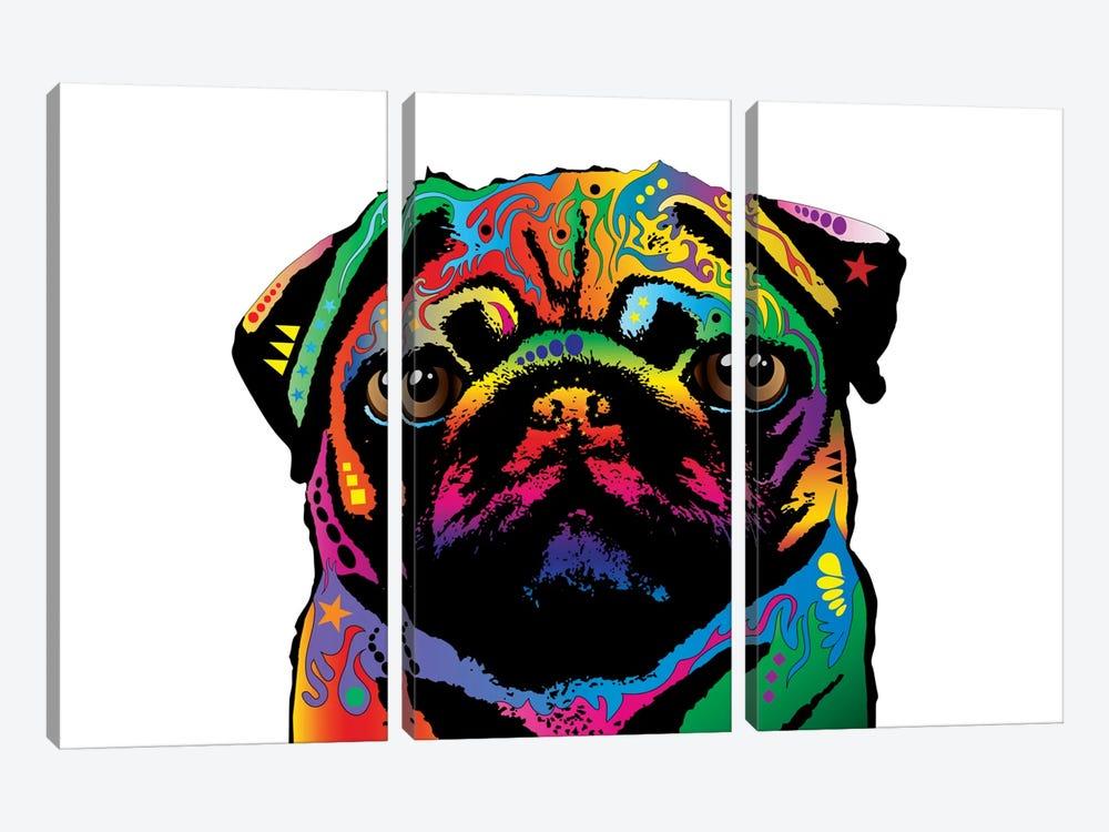 Rainbow Pug On White by Michael Tompsett 3-piece Canvas Wall Art