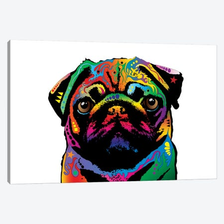 Rainbow Pug On White Canvas Print #MTO503} by Michael Tompsett Canvas Art