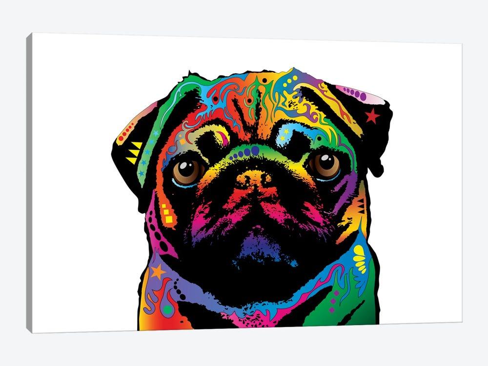 Rainbow Pug On White by Michael Tompsett 1-piece Canvas Art
