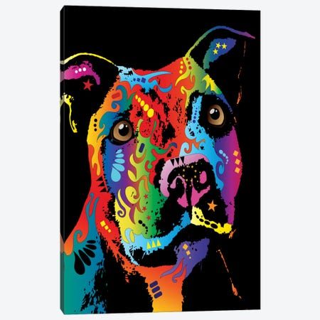 Rainbow Staffordshire Bull Terrier (Pit Bull) Canvas Print #MTO504} by Michael Tompsett Art Print