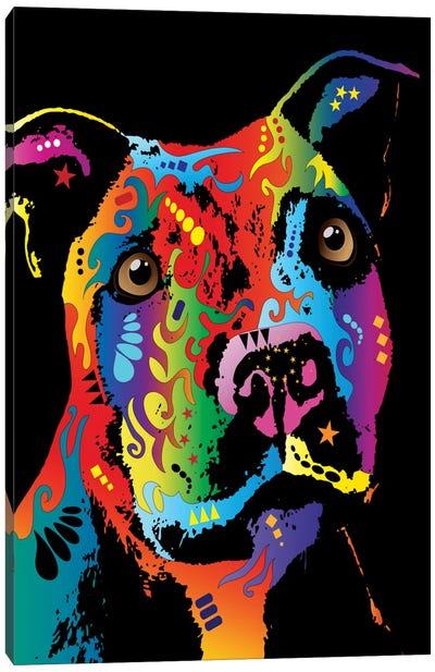 Rainbow Staffordshire Bull Terrier (Pit Bull) Canvas Print #MTO504