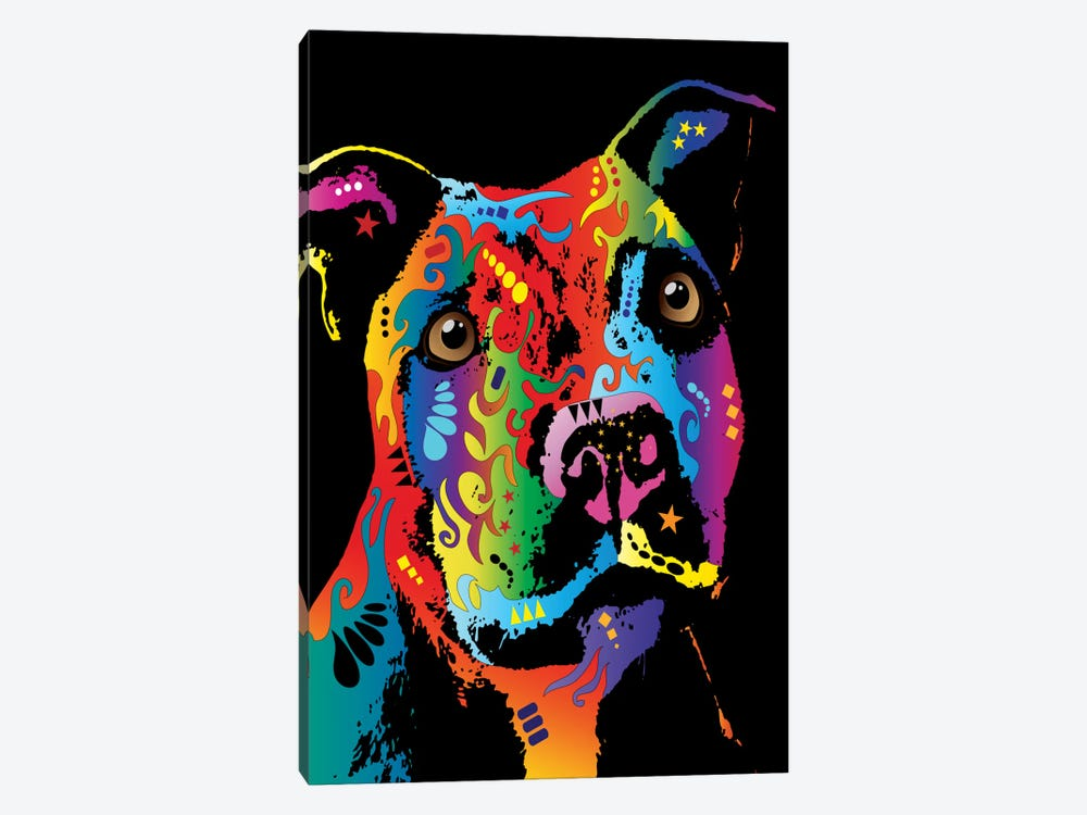 Rainbow Staffordshire Bull Terrier (Pit Bull) by Michael Tompsett 1-piece Canvas Print