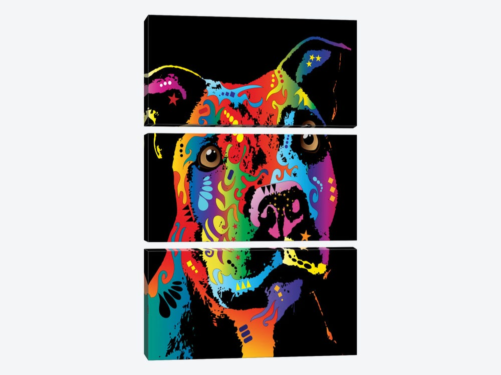 Rainbow Staffordshire Bull Terrier (Pit Bull) by Michael Tompsett 3-piece Canvas Art Print