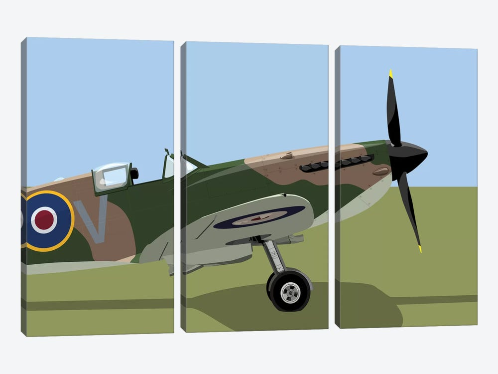 Supermarine Spitfire World War II Fighter Plane by Michael Tompsett 3-piece Canvas Art