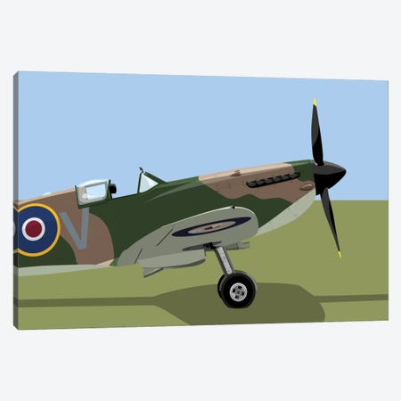 Supermarine Spitfire World War II Fighter Plane Canvas Print #MTO507} by Michael Tompsett Canvas Art Print
