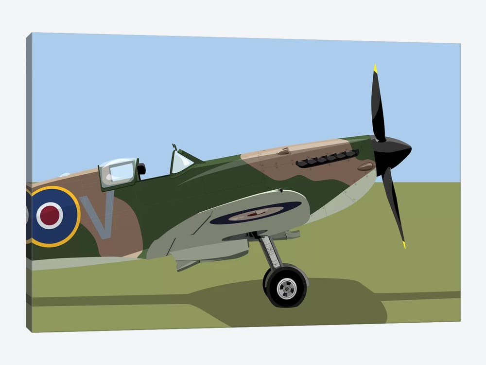 Supermarine Spitfire World War II Fighter Plane by Michael Tompsett 1-piece Canvas Artwork