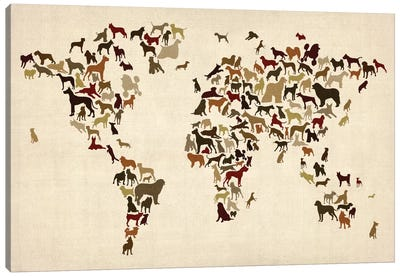 World Map Series: Dogs Canvas Art Print