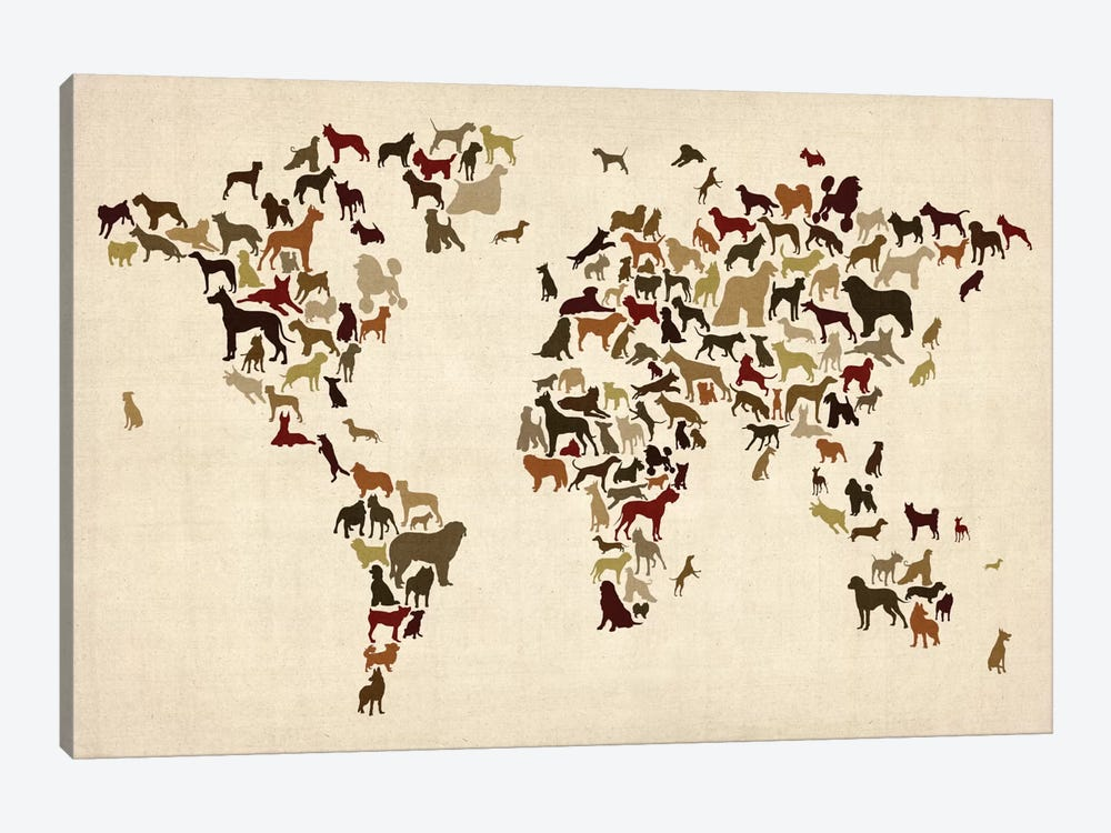 World Map Series: Dogs by Michael Tompsett 1-piece Canvas Art Print
