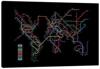 Metro Tube Schematic On Black Canvas Art Print