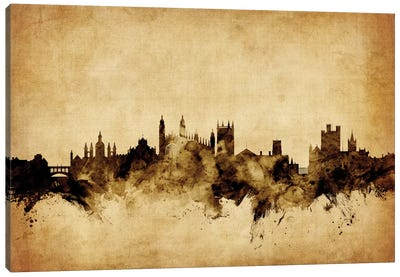 Foxed (Retro) Skyline Series: Cambridge, England, United Kingdom Canvas Print #MTO50