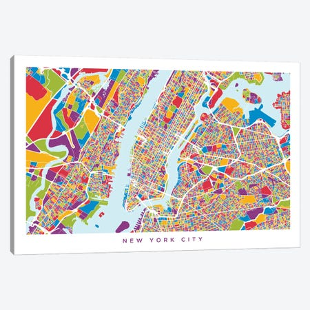 New York City Street Map, Color, Horizontal Canvas Print #MTO511} by Michael Tompsett Canvas Art Print