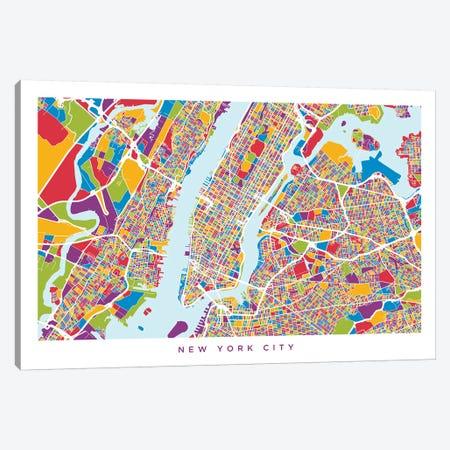 New York City Street Map, Color, Horizontal Canvas Print #MTO511} by Michael Tompsett Canvas Art Print