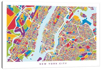 New York City Street Map, Color, Horizontal Canvas Art Print