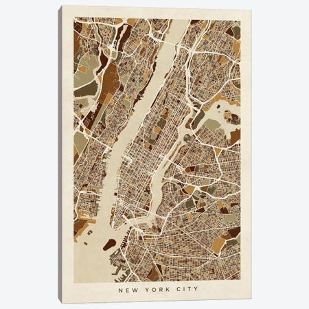 New York City Street Map, Browns, Vertical Canvas Print #MTO512} by Michael Tompsett Canvas Print