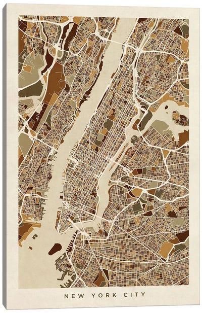 New York City Street Map, Browns, Vertical Canvas Art Print