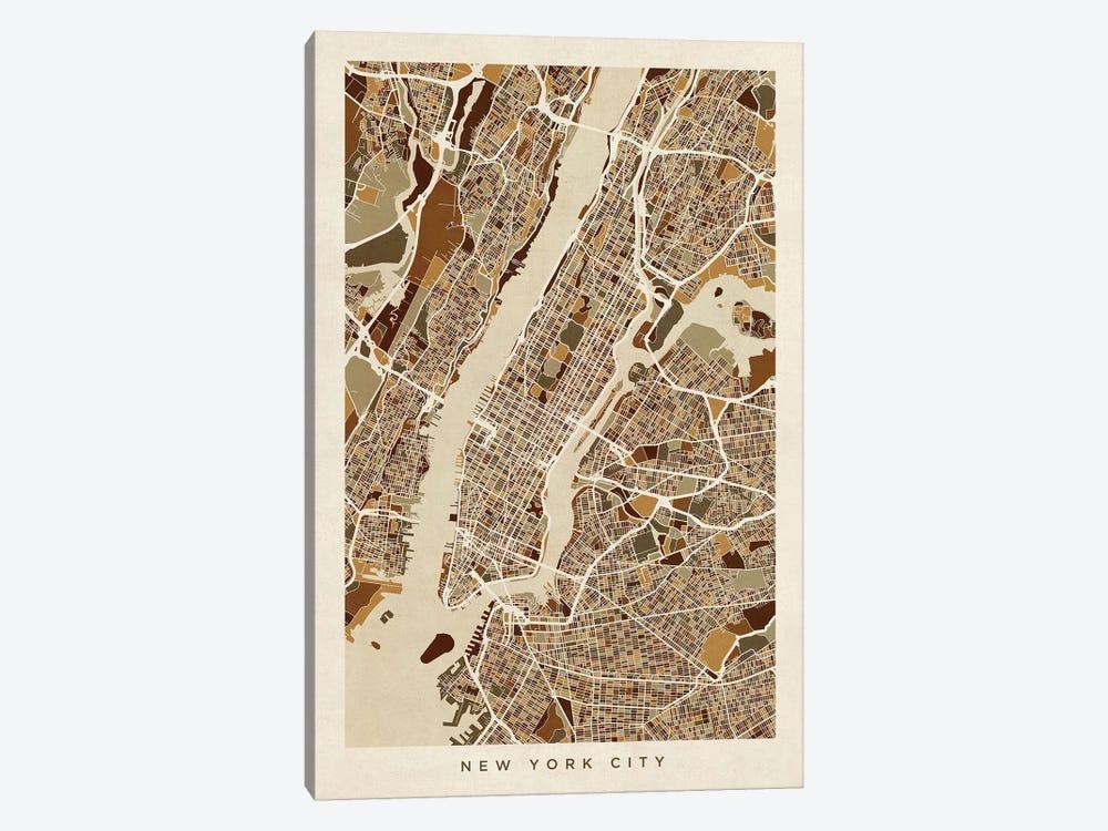 New York City Street Map, Browns, Vertical by Michael Tompsett 1-piece Canvas Artwork