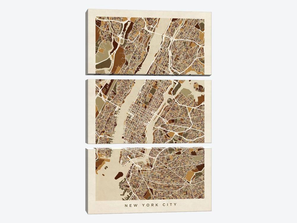 New York City Street Map, Browns, Vertical by Michael Tompsett 3-piece Canvas Wall Art