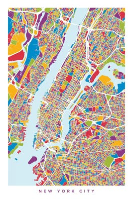 New York City Street Map Color Vertical C Michael Tompsett Icanvas